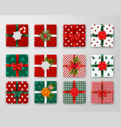 christmas boxes design set vector image