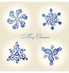 Christmas snowflakes vintage decor vector image