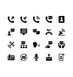Communication glyph icons vector