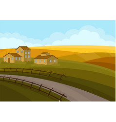 country landscape with houses road green-yellow vector image