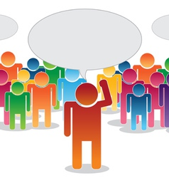 crowd thinking and leader vector image