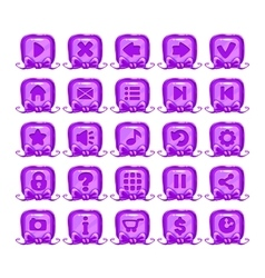 Cute cartoon violet buttons set vector
