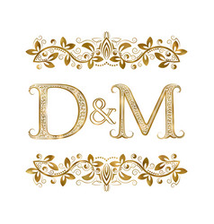 d and m vintage initials logo symbol the letters vector image