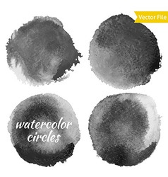 Dark grey watercolor circles set vector