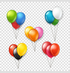 Different color rubber balloons groups clipart vector