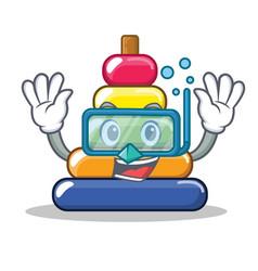 Diving pyramid ring character cartoon vector