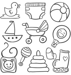 doodle of object baby style set vector image