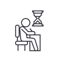 Examing test writing man at desk linear icon vector