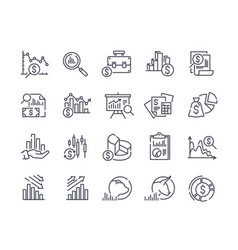 Financial analytics related line icons vector