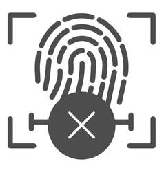 Fingerprint denied solid icon finger vector