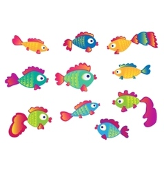 Fish set isolated on white background vector