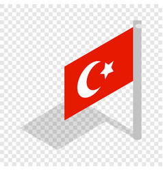 Flag of turkey isometric icon vector