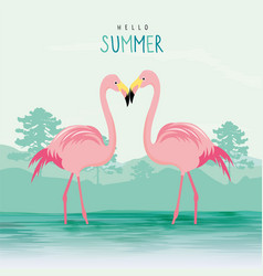 Flamingo pink animal bird cartoon vector