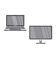 flat laptop computer and wide monitor vector image