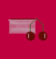 Flat shading style icon pixel cherry sauce vector