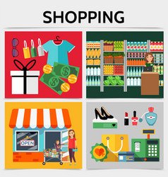 flat shopping square concept vector image