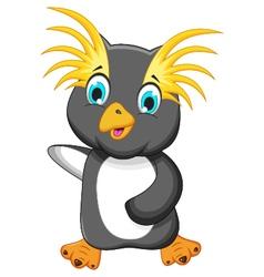 funny king penguin cartoon vector image