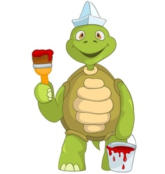 Funny Turtle Painter vector image