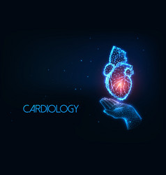 Futuristic cardiology concept with glowing low vector