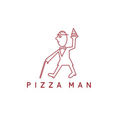 gentleman with cane and pizza slice design vector image