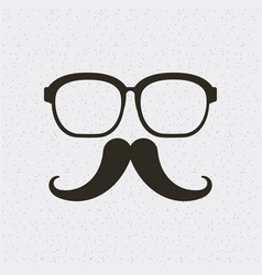 Glasses and mustache hipster style isolated icon vector