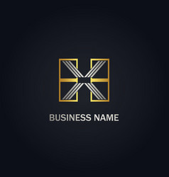 h x initial business gold logo vector image