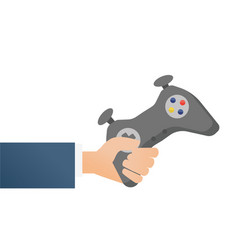 hand holding a wireless gaming controller vector image