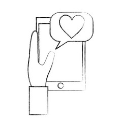 hand holding smartphone message love communication vector image