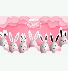 happy easter funny cute bunnies with easter eggs vector image