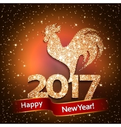 Happy New Year 2017 background with gold shiny vector