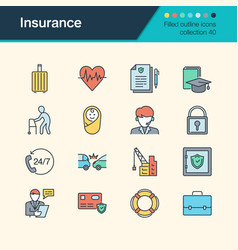 insurance icons filled outline design collection vector image