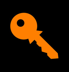 key sign orange icon on black vector image