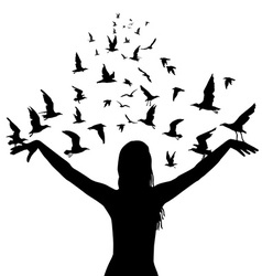 Learning to fly concept with silhouettes of woman vector