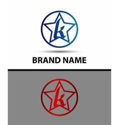 Letter K logo with star sign vector image