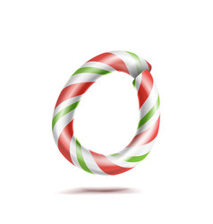 Letter o 3d realistic candy cane alphabet vector