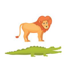 Lion and crocodile savanna animals in cartoon vector