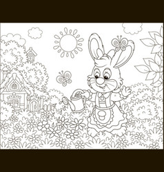 Little bunny watering beautiful flowers vector