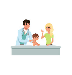Male pediatrician doing medical exam of little boy vector