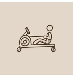 Man exercising with gym apparatus sketch icon vector
