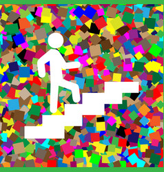 Man on stairs going up white icon on vector