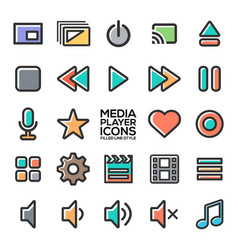 Media player icons in filled line style vector