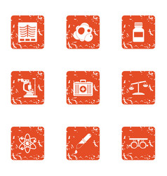 Medical future icons set grunge style vector