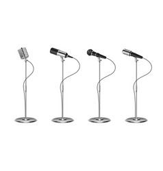 microphone set standing microphones audio vector image