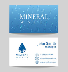 Mineral water delivery business card template vector