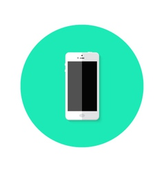 Modern White Smartphone Flat Circle Icon vector image