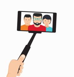 monopod in hand taking selfie vector image