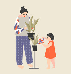 mother and daughter take care of home plants vector image