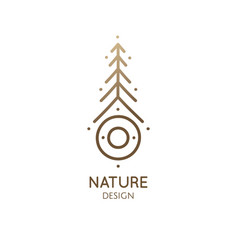 Nature linear logo fir tree vector