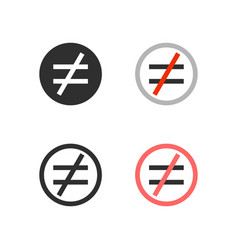 Not equal icons vector
