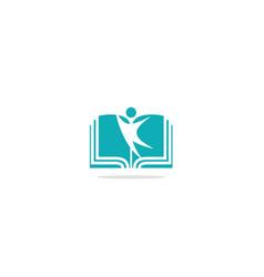 open book happy education logo vector image